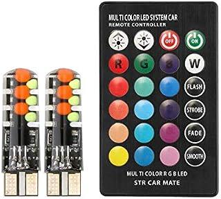 طقم 2 لمبة ليد اضاءة ليزر لكشافات السيارة تعطي 15 لون 7 نظام تحكم بالريموت كنترول