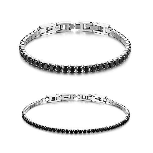 JewelryWe - Pulsera para pareja de mujer y hombre, con circonitas brillantes y perlas