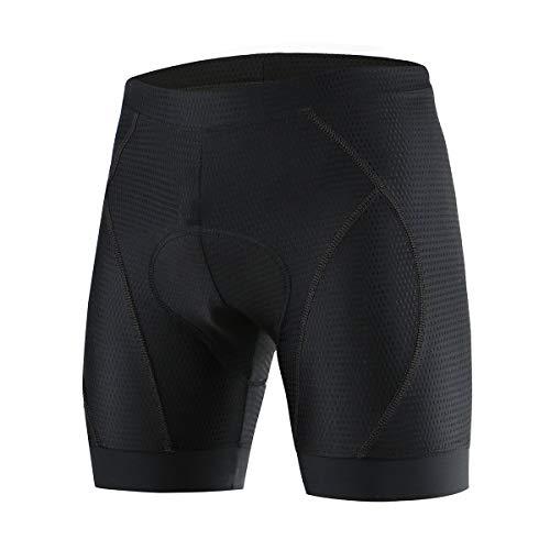 SUUKAA Mujer/Hombres Unisexo Ropa Interior de Bicicleta estáticas y de Spinning con 5D Gel Acolchado MTB Ciclismo Pantalones Cortos (Negro, 3XL)