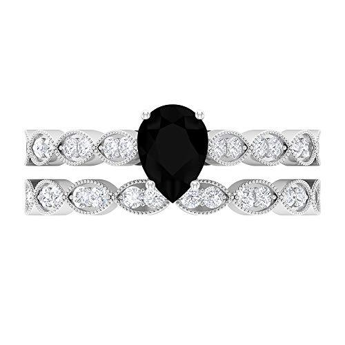 Rosec Jewels - Anillo solitario de diamante negro con forma de pera, 5 x 7 mm, anillo de novia, 14K Oro blanco, Size:EU 58