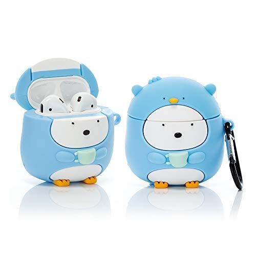 Suublg Cartoon Airpods Silikon Hülle mit Schlüsselanhänger, Cute 3D Toys Design Airpods Zubehör Kits Ladehülle Schutzhüllen Kompatibel für Airpods 1 und 2 (Cup Pinguin)