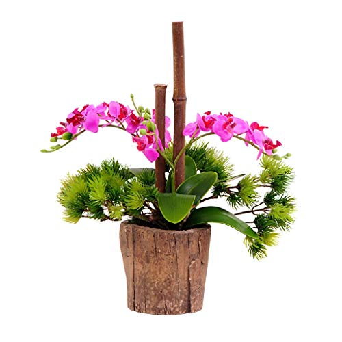 Künstliche Blume Moderne künstliche Blume mit Vase Set, künstliche Phalaenopsis-künstliche Blume Kleine Topfpflanze, künstliche gefälschte Blume Hauptlieferungs Künstliche Kiefer Bonsai Ewige Blume