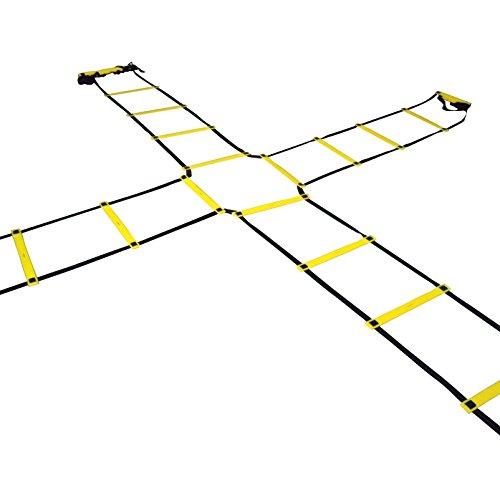 Sportacular Gear Koordinationsleiter Cross (4-Way) 4x2m inkl. Tasche I Trainingsleiter Leiter für Koordinationstraining, Agility Training, Fussball, Basketball, Fitness