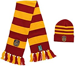 Harry Potter Hogwarts House Knit Hat and Scarf Set for Adults and Kids