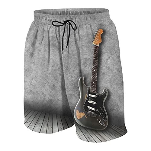 KOiomho Hombres Personalizado Trajes de Baño,Guitarra eléctrica en la habitación vacía,Casual Ropa de Playa Pantalones Cortos