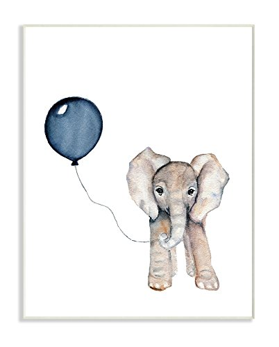 The Stupell Home Décor Collection Baby Elephant with Blue Balloon Wall Plaque Art, 10 x 15