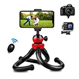 HUNRIM Phone Tripod, Flexible Mini Tripod for iPhone with Wireless Remote and Universal Clamp for Cell Phone/Camera/Action Camera Portable Adjustable Tripod Stand for Selfies Vlogging Streaming