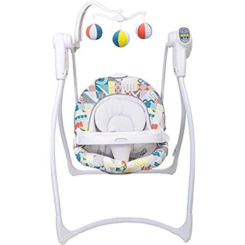 Graco Lovin' Hug Babyschaukel, 6-Gang-Stecker und batteriebetriebener, tragbarer Stuhl mit beruhigender Musik, Patchwork