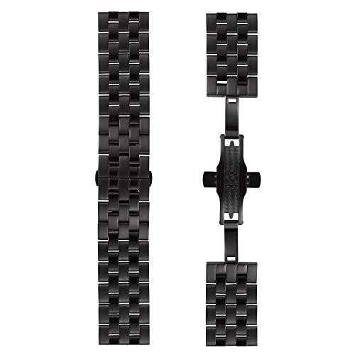 DETOMASO Uhrenarmband Milanaise Edelstahl-Armband 20mm 22mm 24mm mit Schnellwechsel Federsteg (22mm, Edelstahl - Schwarz)