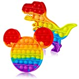 2 Packs Pop Bubble Fidget Sensory Toys, Figit Set Silicone Cute Figetget Popits Toys, Autism Special Needs Anxiety Stress Reliever, Popper New Cheap Rainbow Dino Dinosaur Mouse Game It For Kids