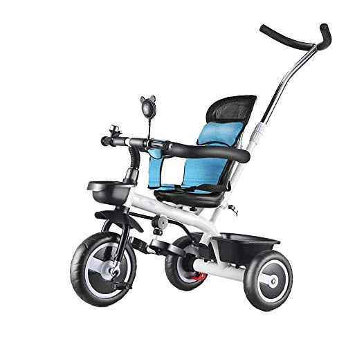 HYDDG Triciclos - Azul Bebé Triciclo, Paseo En Bicicleta - Caminando Triciclo con La Seguridad Asiento/Almacenamiento Canasta/Pie Pedales/Sol Visera, Años 18 Meses A 5 años Antiguo