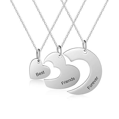 XiXi Collar con Nombre Personalizado Collar Amistad para 3 Collar Plata con Colgante de Corazón Personalizable Collar para Mujer Amiga Mejor Regalo para Aniversario Navidad