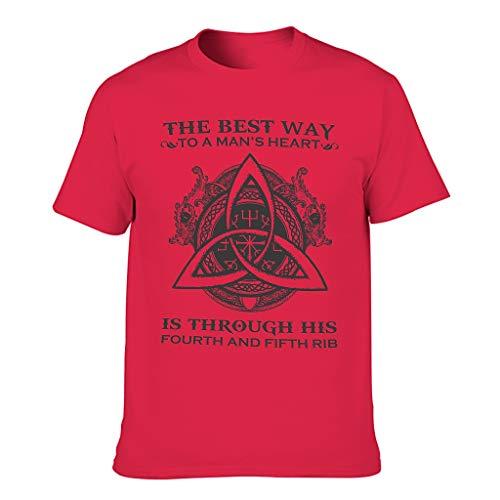 Camiseta para hombre con texto en alemán 'Viking Der Beste Weg ins Herz eines Mannes' Sarkam Red1 XXL