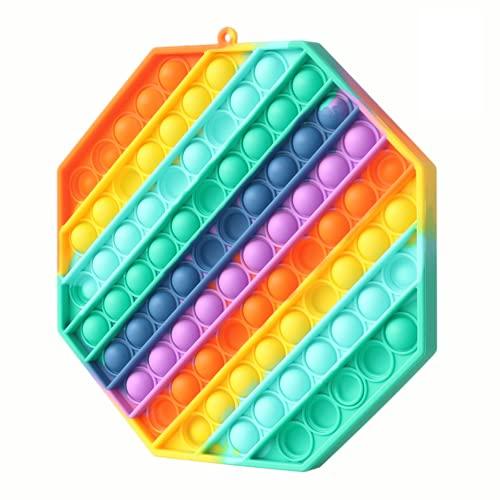 Fettinow Pop It Grande Fidget Toy - Giocattolo Antistress Push Pop Grande - Pop It Gigante Arcobaleno in Silicone di Alta qualità