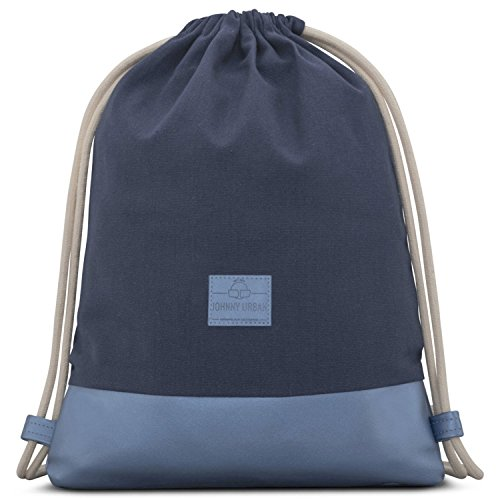 Johnny Urban Turnbeutel Hipster Blau Metallic Luke Canvas Gymsack Gym Bag Beutel Sportbeutel Rucksack für Damen & Herren mit Innentasche - Aus robustem Baumwoll Canvas und veganem Leder