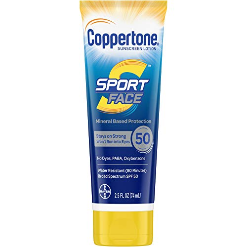 Coppertone Sport Face SPF 50 Sunscreen Mineral Based Lotion, Dye Free, PABA Free & Oxybenzone Free (2.5 Fluid Ounce)