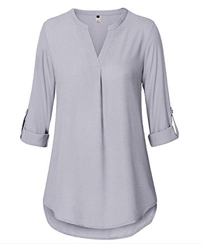 ELFIN Damska bluzka o dużych rozmiarach, z długimi rękawami, dekolt w kształcie litery V, szyfon, luźna koszulka, elegancka tunika