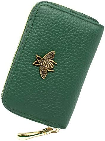 imeetu RFID Credit Card Holder Small Leather Zipper Card Case Wallet for Women Green product image