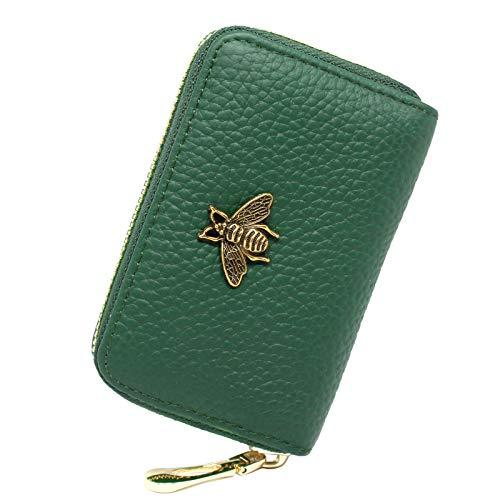imeetu RFID Credit Card Holder, Small Leather Zipper Card Case Wallet for Women(Green)