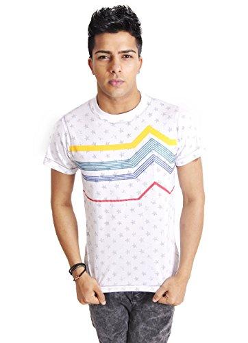 BRAVE SOUL Herren T-Shirt mit Sternen-Aufdruck, Weiß