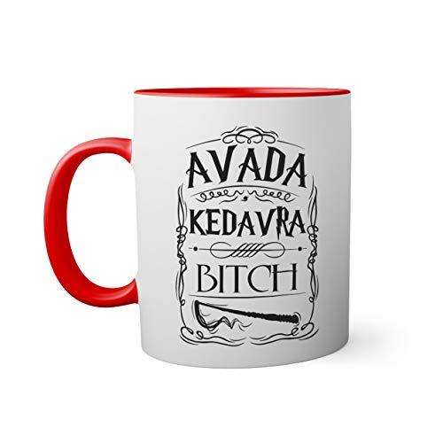 Trendy Avada Kedavra Bitch Taza de color roja con mango a juego taza 330ml