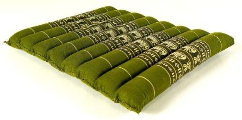 livasia Kapok Sitzkissen 35x35x4cm, Stuhlauflage, Steppkissen, Meditationskissen, Stuhlkissen (grün/Elefanten)