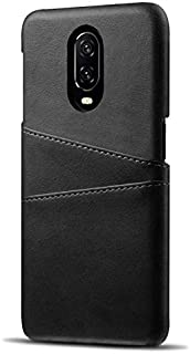 Olixar for OnePlus 6T Wallet Case - PU Faux Leather Cover - RFID Blocking - Credit Card Storage - Wireless Charging Compatible - Farley - Black