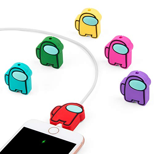 Cute Cable Protector for iPhone Charger, ILOVEY 6PCS Cartoon Anime Charging Saver, Action Figures Cable Buddies, Compatible for iPhone iPad Charger Cable Only