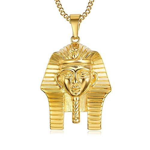 BOBIJOO JEWELRY - Anhänger Kopf Pharao Ägypten Alte Stahl Gold Großes oder Kleines Modell + Kette - Kleines Modell - vergoldet