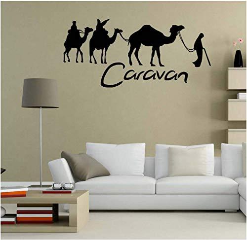 Muursticker zelfklevend welkom sticker caravan en kameel behang grote kunst stickers woonkamer decoratie zoete kamer 123X59Cm