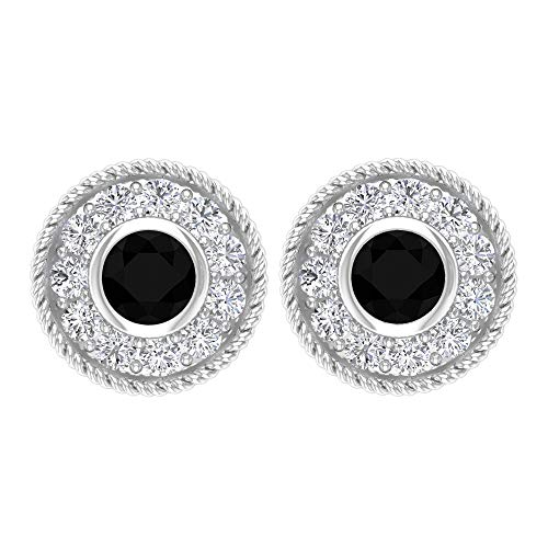 Pendientes de espinela negra, Hi-SI con halo de diamantes, pendientes de bisel dorado (2,50 mm con forma redonda de espinela negra), rosca trasera negro