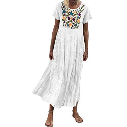 Shinehua lange linnen jurk dames zomerjurk casual jurk maxi-jurk losse baggy kaftan korte mouwen strand tuniek blouse jurken dames jurken elegante partyjurken vrijetijdskleding grote maten Medium wit
