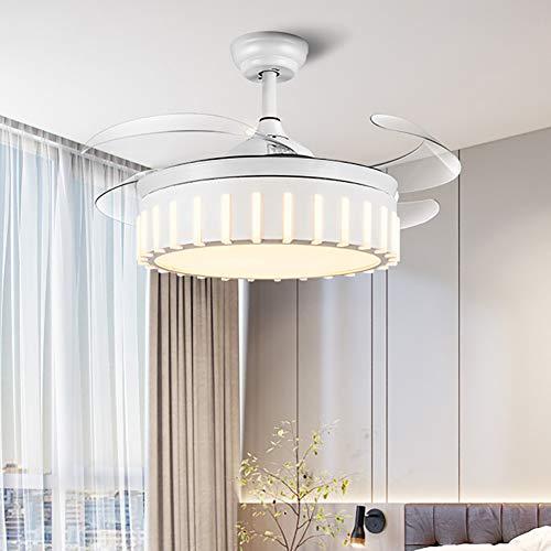 Ventilador de techo ventilador de techo invisible luz de ventilador de 42 pulgadas / 107 CM Luz de ventilador telescópica salón comedor dormitorio hogar minimalista moderno con lámpara de ventilado