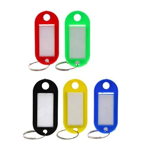 TOYMYTOY Portachiavi Targhetta per Chiavi plastica e bagagli ID Tag etichette,50 Pezzi,5 colori assortiti