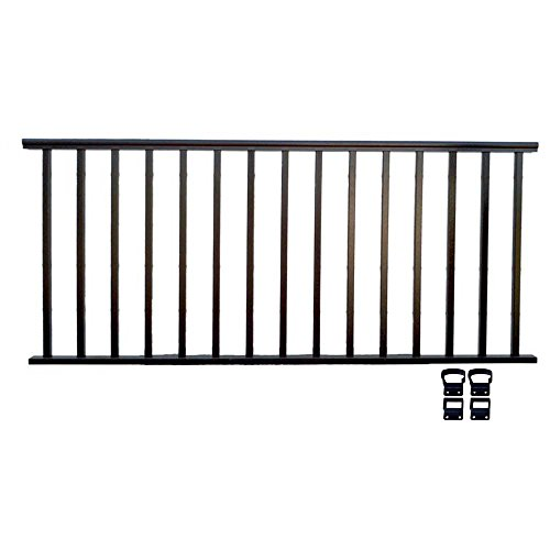 Contractor Deck Railing 8ft x 42in Aluminum Commercial Railing - Hammered Black