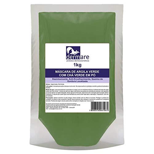 Argila Verde com Chá Verde 1Kg, Dermare, Verde