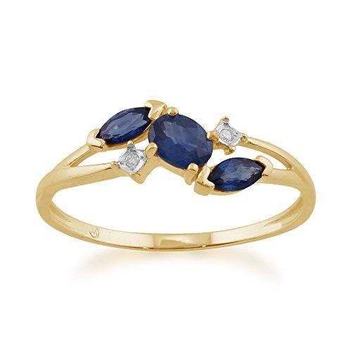 9ct Yellow Gold 0.70ct Kanchanaburi Sapphire & Diamond Classic Ring