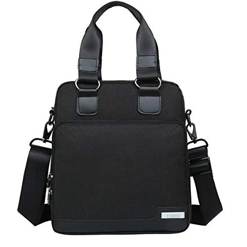 Eshow Men Shoulder Bag Nylon Satchel Handbags Crossbody Bags for Mens Casual Small Messenger Business Working Troop Travel School Fashionable Bags Black (Black3593)