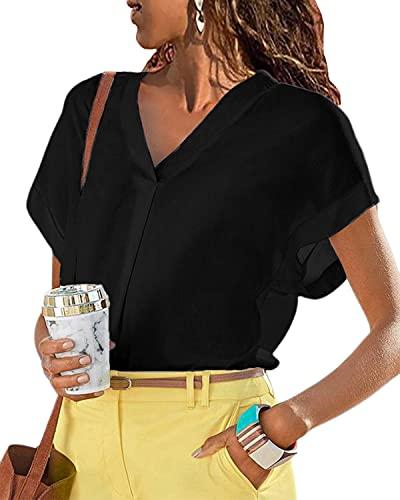 LilyCoco Blusas Camisa Mujer Verano Elegante Sexy Blusas y Camisas de Mujer Suelto Casual Camisa Fiesta Playa Camisetas Manga Corta Blusas con Cuello en V Elegante Top Shirt de Verano Negro XL