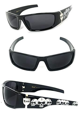 Locs Harcore Fly Sonnenbrille + Free-Mikrofaser-Beutel (Schwarz, Schwarz) Schwarz Einheitsgröße Schwarz