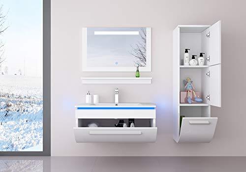 danny 60 cm Weiss Badmöbelset mit einem Hängeschrank Vormontiert Badezimmermöbel Waschbeckenschrank mit Waschtisch Spiegel mit LED Hochglanz lackiert Homeline1