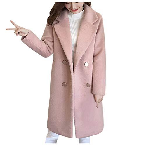Deloito Winter Übergangs Parka Outwear Damen Vintage Trenchcoat Büro Arbeit Freizeit Lose Windjacke Langarm Knopf Wollmantel Lange Wolljacke (C-Rosa,Large)