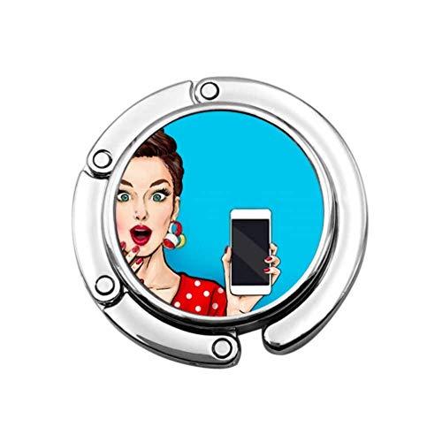 Gancho de Monedero Atractivo Chica Sexy Teléfono Mano Cómic Bolso de Mano Ganchos Colgador de Mesa Plegable Soporte de Monedero