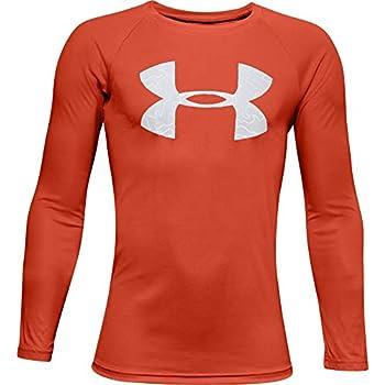 Under Armour Boys  Tech Logo FILL Long-Sleeve T-Shirt  Rich Orange  830 /Halo Gray  Youth Medium