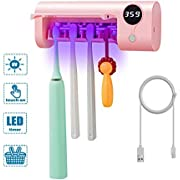 SHUKAN UV Toothbrush Sanitizer, Bathroom Toothbrush Holder Wall Mounted with Sterilizer Function, 1500mAh USB Charging, Timing Function, UV Toothbrush Sterilizer for Ladies Baby Kids Family(Pink)