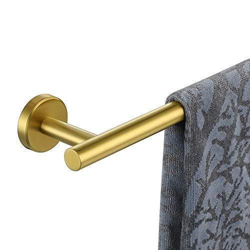 JQK Bath Towel Bar, 24 Inch Brushed Gold Towel Rack Bathroom, Stainless Steel Towel Holder Wall Mount, Total Length 27 Inch, TB110L24-BG