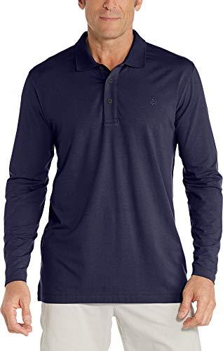 Coolibar Herren Langärmlig Poloshirt, Marineblau, L
