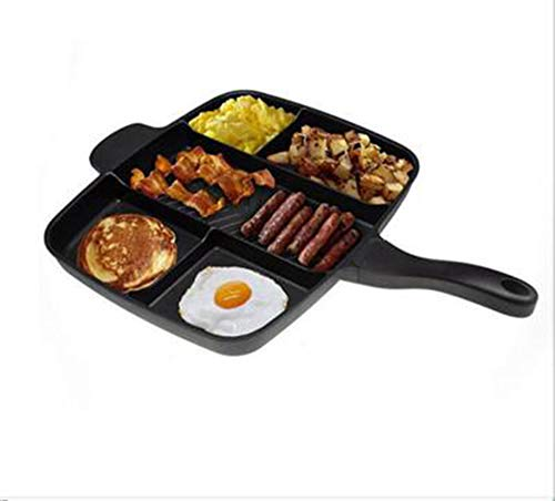 GPWDSN De Lazy Pan Alle In Een Koekenpan 4 In 1 Multi Sectie Grill/Ontbijt Skillet met Antiaanbaklaag en Soft Touch Handle