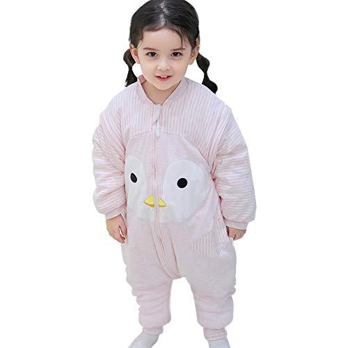 Happy Cherry - Baby Schlafsack mit Füßen Kleinkind Winter Mittel Dicker Schlafsack mit geteiltem Bein für Mädchen Jungen Niedlicher Cartoon Pinguin Baumwolle Schlafsack mit abnehmbaren Ärmeln - Pink