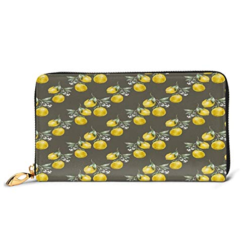 Women's Long Leather Card Holder Purse Zipper Buckle Elegant Clutch Wallet, Lemon Branches with Petals Growth Essence Nature Themed Artsy Print,Sleek and Slim Travel Purse